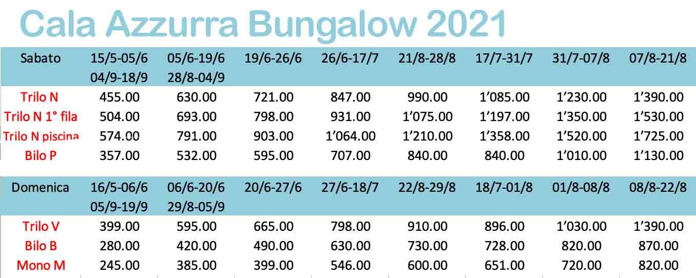 Preisliste 2021 Cala Azzurra